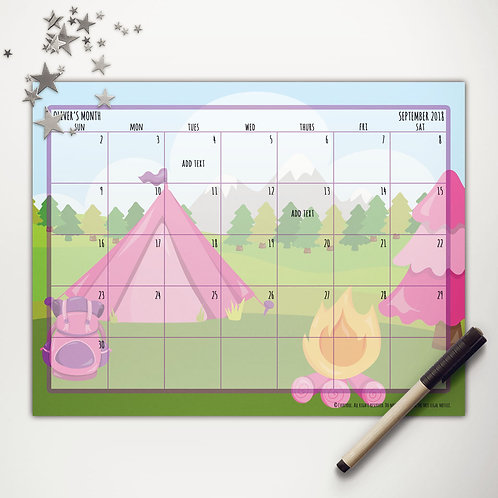 Glamping Monthly Calendar