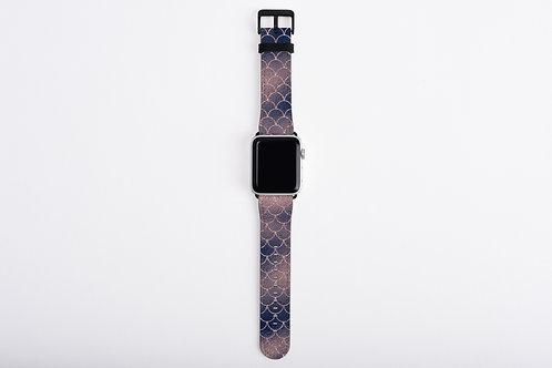 Blush + Navy Cotton Candy Mermaid Scales Designer Apple Watch Band