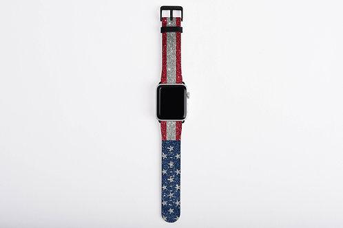 Glittered Patriotic United States Flag Designer Apple Watch Band