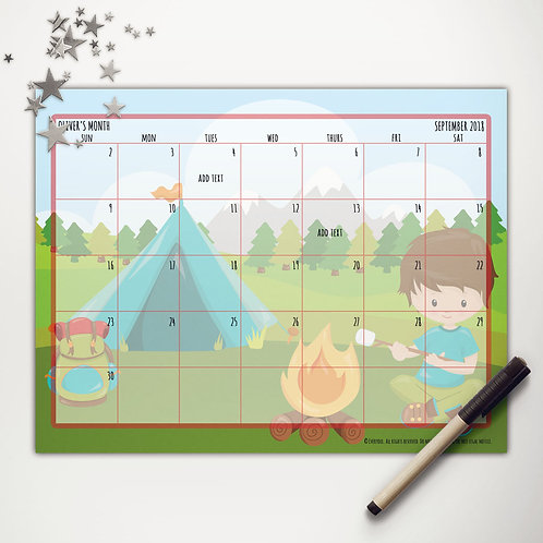 Tent Camping Boy Monthly Calendar (custom character)