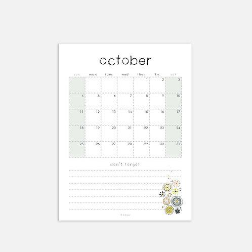 Whimsical Ye. October 2020 Monthly Full Sheet Calendar