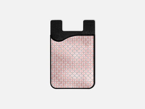 Blush + Navy Silk Mermaid Scales Card Holder