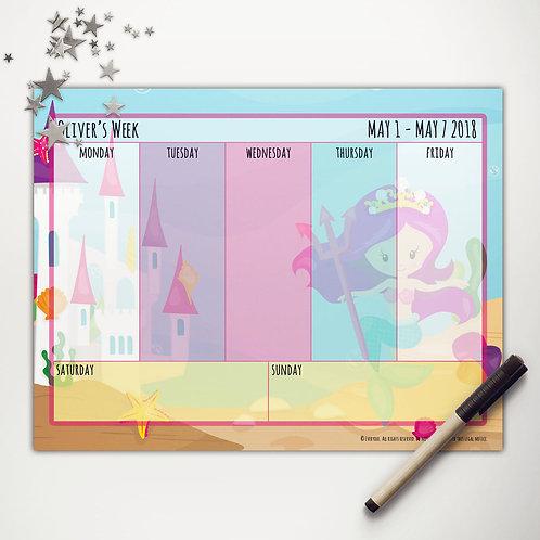 Mermaid Princess Weekly Calendar (light skin)
