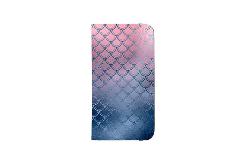 Blush + Navy Magic Mermaid Scales Folio Wallet Case