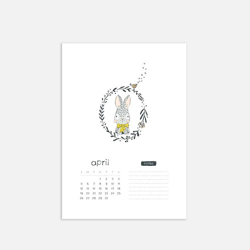 Whimsical Ye. April 2020 Full Sheet Calendar