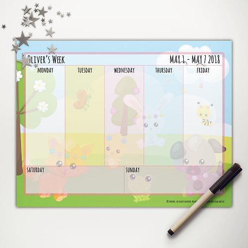 Spring Friends Weekly Calendar