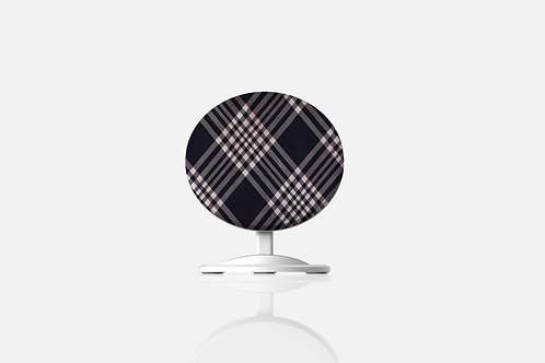 Navy + Blush Luxury Plaid Wireless Charger