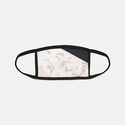 Rose Gold Marble +Black Black Edge Face Cover