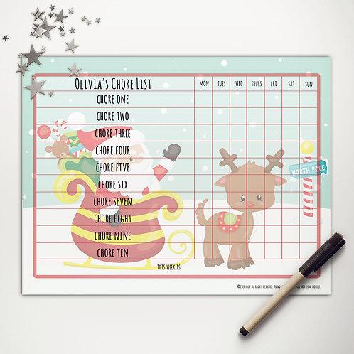 Santa + Rudolph Basic Chore Chart (light skin)