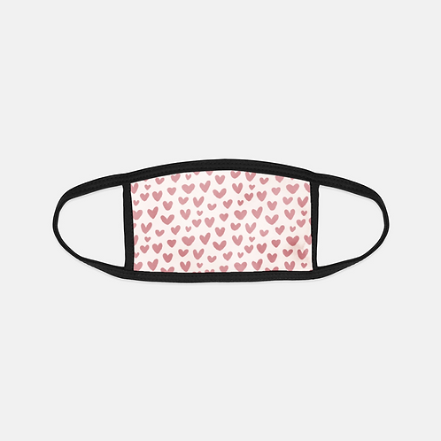 Cupid's Blush Hearts Light Black Edge Face Cover
