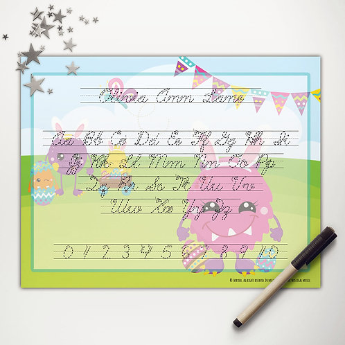 Easter Monsters Writing Mat (cursive)