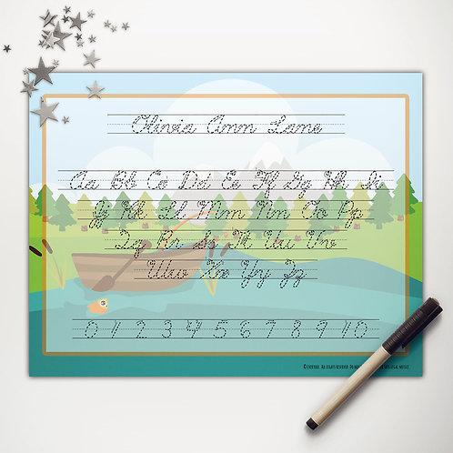 Goin' Fishin' Boat Writing Mat (cursive)