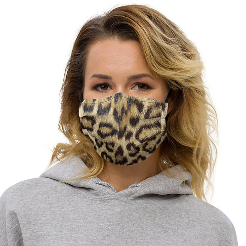Leopard Skin Texture Print Premium Face Cover with Pocket