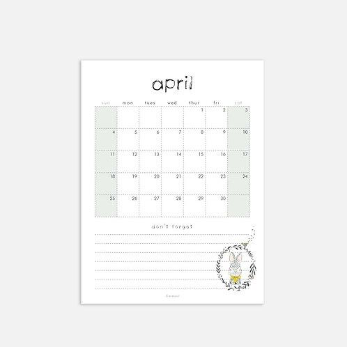 Whimsical Ye. April 2021 Monthly Full Sheet Calendar
