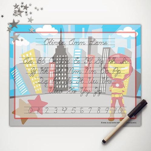 Iron Hero Writing Mat (cursive)