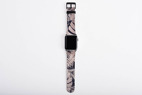 Navy + Rose Gold Luxury Tropical Leaves Designer Apple Watch Band