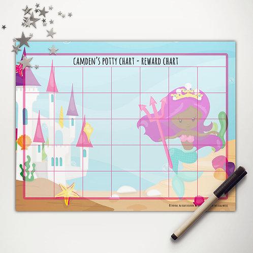 Mermaid Princess Basic Reward Chart (dark skin)