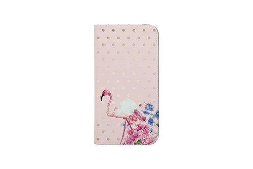 Blush + Gold Polk-a-Dots Flamingo Folio Wallet Case