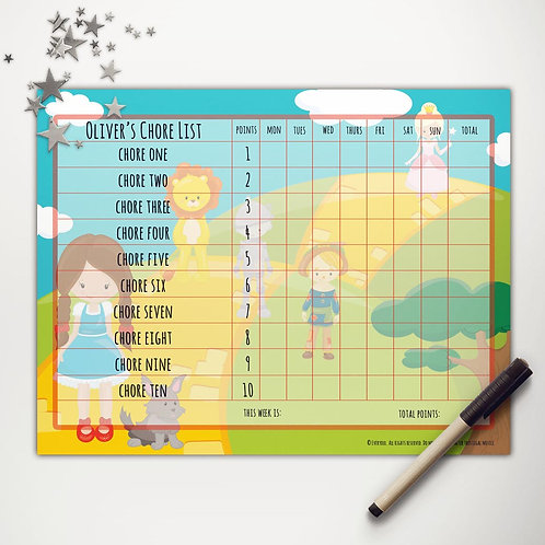 Yellow Brick Road Friends Basic Chore Chart with Points (light skin)