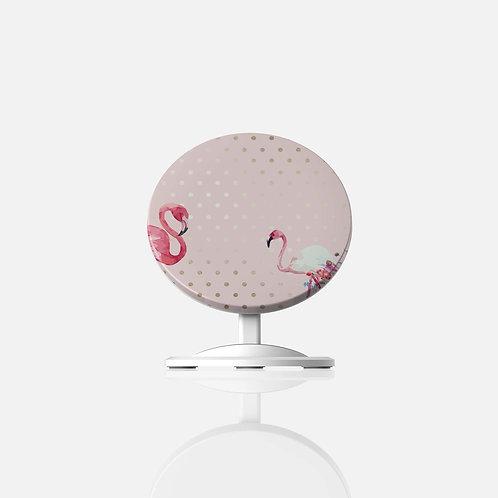 Blush + Gold Polk-a-Dots Flamingo Wireless Charger