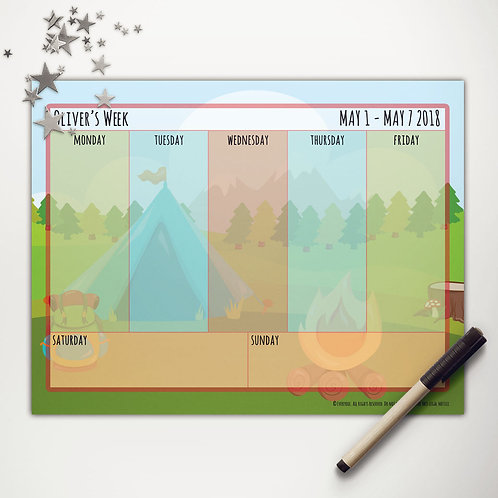 Tent Camping Weekly Calendar