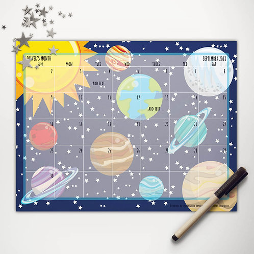 Solar System Monthly Calendar