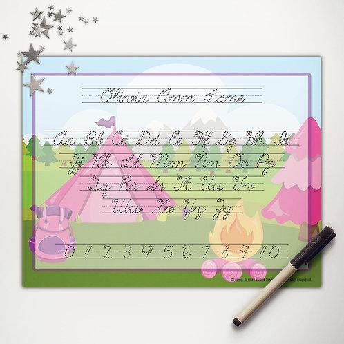 Glamping Writing Mat (cursive)