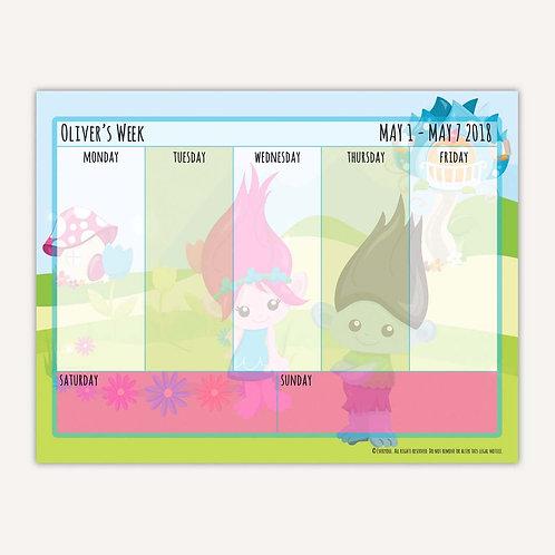 Bright Troll Fun Weekly Calendar