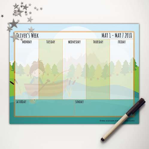 Goin' Fishin' Girl Weekly Calendar (custom character)