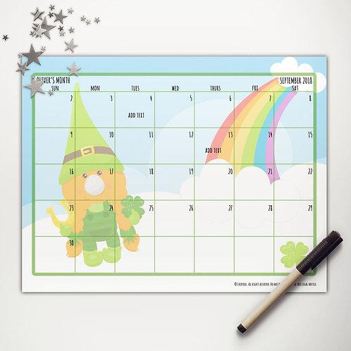 Good Luck Gnome Monthly Calendar