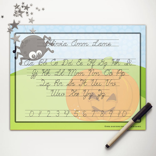 Pumpkin + Spider Writing Mat (cursive)