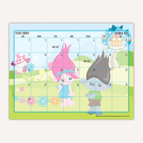 Bright Troll Fun Monthly Calendar