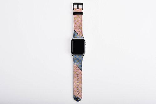 Blush + Navy Trident Mermaid Scales Designer Apple Watch Band