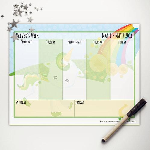 Good Luck Unicorn Weekly Calendar