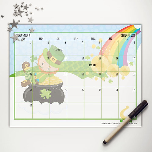 Good Luck Leprechaun Monthly Calendar (light skin)