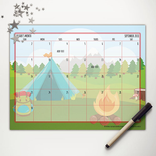 Tent Camping Monthly Calendar