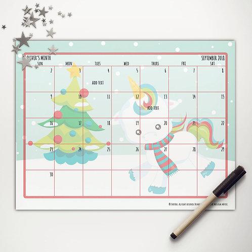 Christmas Unicorn Monthly Calendar