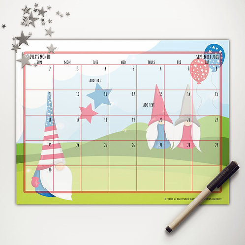 Patriotic Gnomes Monthly Calendar