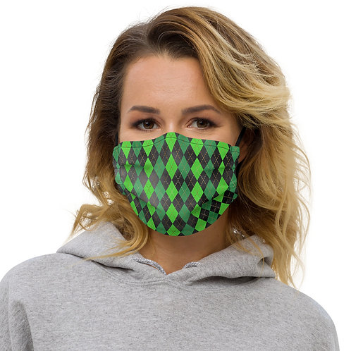 Luck Argyle St. Patrick's Day Premium Face Cover with Pocket
