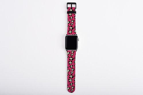 Valentine Dark Pink Leopard Print Designer Apple Watch Band