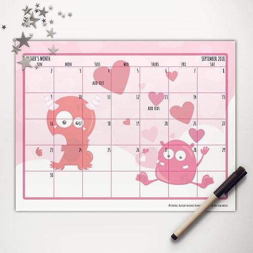 Valentine Monsters Monthly Calendar