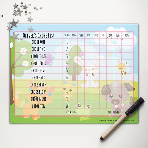 Spring Friends Basic Chore Chart with Points