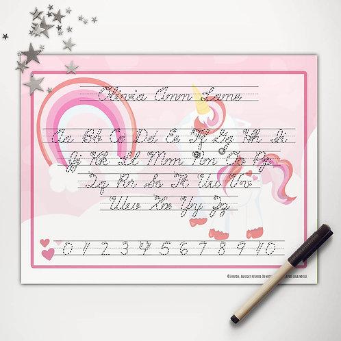 Valentine Unicorn Writing Mat (cursive)
