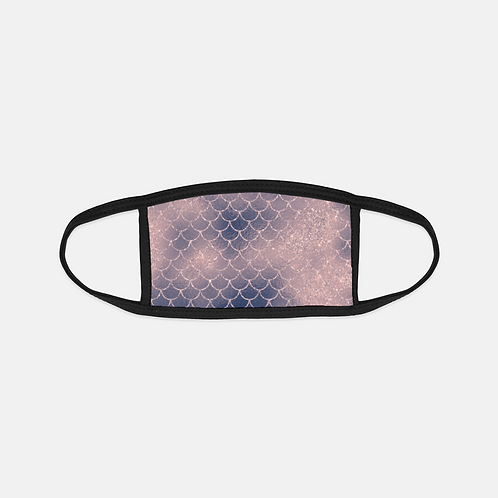 Blush + Navy Cotton Candy Mermaid Scales Black Edge Face Cover