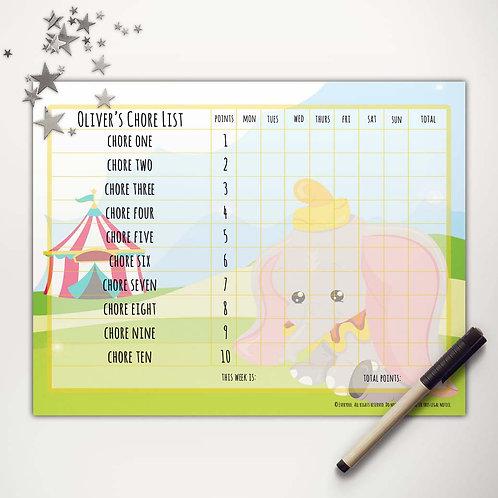 Flying Elephant Basic Chore Chart with Points