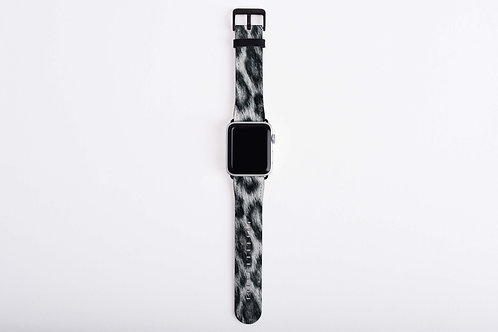 Snow Leopard Skin Texture Print Apple Watch Band