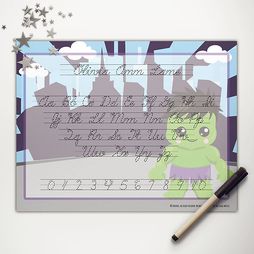 Lg. Green Hero Writing Mat (cursive)