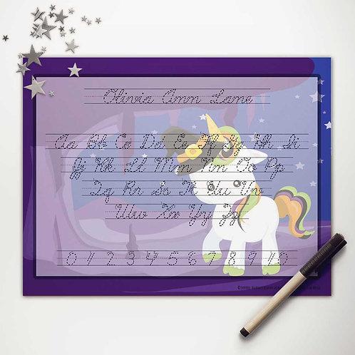 Witchy Unicorn Writing Mat (cursive)