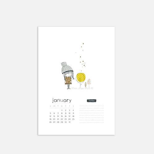Whimsical Ye. January 2020 Full Sheet Calendar