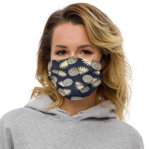 Navy + Gold Pineapples Premium Face Cover with Pocket